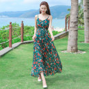 Dress Spring of 2019 Picture color XXL S M L XL longuette singleton  Sleeveless Sweet V-neck Elastic waist Decor Socket Big swing camisole 25-29 years old Type A Shi Lu Dan printing SLD1902A-1 More than 95% Chiffon polyester fiber Polyester 100% Bohemia Pure e-commerce (online only)