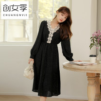 Dress Winter 2020 Apricot black S M L longuette singleton  Long sleeves commute V-neck High waist Solid color Socket A-line skirt routine Others 18-24 years old Women's season Button Q51859 More than 95% Chiffon polyester fiber Polyester 100% Pure e-commerce (online only)