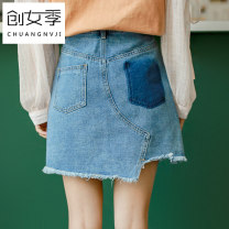 skirt Spring of 2018 XL S M L blue Short skirt commute High waist A-line skirt Solid color Type A 18-24 years old More than 95% Women's season cotton pocket Korean version Cotton 98% other 2% Pure e-commerce (online only)