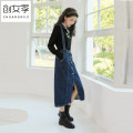 skirt Autumn 2020 S M L blue Mid length dress commute High waist A-line skirt Solid color 18-24 years old Q51585 More than 95% Denim Women's season cotton Button Cotton 98% other 2% Pure e-commerce (online only)