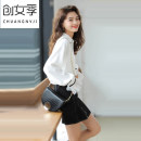 shirt White black S M L XL Autumn of 2019 polyester fiber 96% and above Long sleeves commute Regular Polo collar Single row multi button pagoda sleeve Solid color 18-24 years old Self cultivation Women's season Korean version Polyester 100% Pure e-commerce (online only)