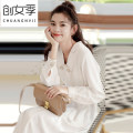 Dress Spring 2021 White black S M L XL longuette singleton  Long sleeves commute V-neck middle-waisted Solid color double-breasted Big swing routine Others 25-29 years old Women's season Korean version Bow tie Y3595 More than 95% polyester fiber Pure e-commerce (online only)