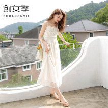 Dress Summer 2020 Apricot S M L longuette singleton  Sleeveless commute One word collar High waist Solid color zipper A-line skirt camisole 18-24 years old Women's season Gauze Q51378 More than 95% polyester fiber Other polyester 95% 5% Pure e-commerce (online only)