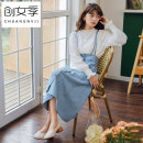 skirt Summer of 2019 S M L Blue dark blue Mid length dress commute High waist A-line skirt Solid color 18-24 years old More than 95% Women's season cotton Strap button Korean version Cotton 98% other 2% Pure e-commerce (online only)