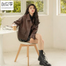 leather clothing Women's season Winter 2020 S M L Black Brown have cash less than that is registered in the accounts easy square neck zipper routine other 18-24 years old Wash skin Polyester 100% Pure e-commerce (online only)
