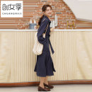 Dress Autumn of 2019 blue S M L XL Mid length dress singleton  Long sleeves commute Polo collar High waist Solid color Single breasted Big swing routine Others 18-24 years old Women's season Korean version Pocket tie Q51022 71% (inclusive) - 80% (inclusive) polyester fiber