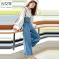 Jeans Autumn of 2019 blue XL 2XL S M L trousers High waist rompers 18-24 years old other light colour Women's season Cotton 98.5% others 1.5% Pure e-commerce (online only)