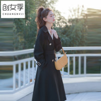 Windbreaker Spring 2020 S M L black Long sleeves routine Medium length commute double-breasted V-neck routine Solid color Self cultivation Korean version Women's season 18-24 years old 81% (inclusive) - 90% (inclusive) polyester fiber Pure e-commerce (online only)