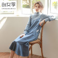 Dress Spring of 2018 Grey blue coffee S L M Mid length dress singleton  Sleeveless commute V-neck Loose waist stripe Socket Ruffle Skirt routine camisole 18-24 years old Type H Women's season Korean version Lace strap Q5060 51% (inclusive) - 70% (inclusive) polyester fiber