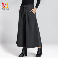 Casual pants Grey coffee Plaid Red Plaid black 27 28 29 30 31 32 33 34 35 measure waist to choose size Winter 2016 Cropped Trousers Wide leg pants High waist commute thickening 31% (inclusive) - 50% (inclusive) KZ5126 Shuoerbuyi wool Simplicity pocket wool Polyester 52% wool 42% others 6%