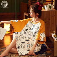 Nightdress Tassel M L XL XXL Sweet Short sleeve pajamas Middle-skirt summer Cartoon animation youth Crew neck cotton printing More than 95% pure cotton CM-3375 200g and below Summer 2020 Cotton 100% Pure e-commerce (online only)
