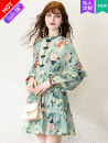 Dress Spring 2021 Picture color more color, please contact customer service 145/72/XXS 150/76/XS 155/80/S 160/84/M 165/88/L 170/92/XL Short skirt singleton  Long sleeves commute stand collar Loose waist Decor Socket A-line skirt bishop sleeve 25-29 years old Type A Naixin Retro More than 95% other