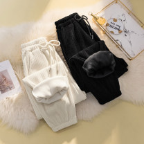 Women's large Spring 2021 Off white (regular) black (regular) off white (plush) black (plush) M (suitable for 80-110 kg) l (suitable for 110-140 kg) XL (suitable for 140-170 kg) XXL (suitable for 170-200 kg) trousers singleton  commute easy thickening Solid color Korean version printing and dyeing
