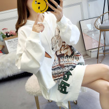 Women's large Winter of 2019 Sweater / sweater singleton  commute easy thick Socket Long sleeves Cartoon animation Korean version Hood Medium length Polyester cotton printing and dyeing routine Cardamine 25-29 years old tie-dyed Polyester 95% polyurethane elastic fiber (spandex) 5%