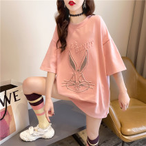Women's large Spring 2021 Pink white grey M (suitable for 80-110 kg) l (suitable for 110-140 kg) XL (suitable for 140-170 kg) T-shirt singleton  commute easy thin Socket Short sleeve Cartoon letters Korean version Crew neck Medium length printing and dyeing routine tt6 Cardamine 18-24 years old