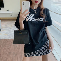 Women's large Spring 2021, summer 2021 Black T-shirt , Black skirt It is suggested that the size of the recommended size is 120-40kg, and it is recommended to use the size of 120-40kg skirt Two piece set commute Self cultivation moderate Socket 18-24 years old Short skirt