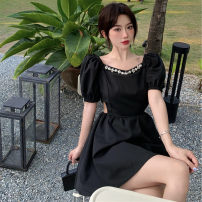 Women's large Spring 2021, summer 2021 Black, white It is suggested that the size of the recommended size is 120-40kg, and it is recommended to use the size of 120-40kg Dress singleton  commute easy moderate Conjoined Short sleeve 25-29 years old Short skirt