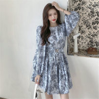 Women's large Spring 2021, summer 2021 Picture color It is suggested that the size of the recommended size is 120-40kg, and it is recommended to use the size of 120-40kg Dress singleton  commute easy moderate Conjoined Long sleeves 25-29 years old Short skirt