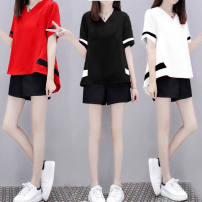 Pajamas / housewear set female Red, white, black Polyester (polyester) Short sleeve motion Sports Home summer routine V-neck other shorts Socket youth 2 pieces rubber string 81% (inclusive) - 95% (inclusive) polyester printing 200g and below