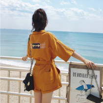 Casual pants Yellow black S M L XL Summer of 2018 shorts Jumpsuit High waist commute routine 81% (inclusive) - 90% (inclusive) Cotton blended fabric