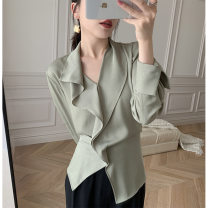 shirt Spring 2021 polyester fiber 31% (inclusive) - 50% (inclusive) Long sleeves commute V-neck Socket routine Solid color 30-34 years old Self cultivation