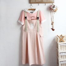 Dress Summer 2021 M, L Mid length dress Two piece set Sleeveless Sweet Polo collar Loose waist Cartoon animation Socket A-line skirt routine straps Under 17 Type A Sticking cloth More than 95% other cotton college