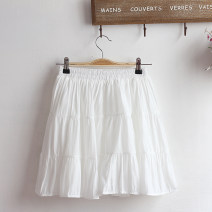 skirt Summer 2021 Average size White, black Short skirt Sweet Natural waist A-line skirt Solid color Type A Under 17 51% (inclusive) - 70% (inclusive) other cotton Lotus leaf edge 161g / m ^ 2 (including) - 180g / m ^ 2 (including) college