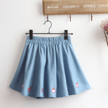 skirt Summer 2021 Average size blue Short skirt Sweet Natural waist A-line skirt Solid color Type A Under 17 51% (inclusive) - 70% (inclusive) other Other / other cotton 81g / m ^ 2 (including) - 100g / m ^ 2 (including) solar system