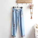 Casual pants wathet Average size Spring 2021 trousers Straight pants Natural waist Sweet routine Under 17 96% and above A--K cotton pocket solar system