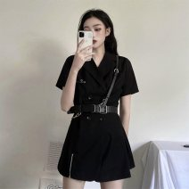 Dress Summer 2020 Small black skirt with belt S,M,L Short skirt Short sleeve V-neck middle-waisted other Others 18-24 years old