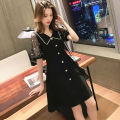 Dress Summer 2021 black L XL 2XL 3XL 4XL longuette singleton  Short sleeve commute V-neck High waist Solid color Socket A-line skirt routine 25-29 years old Type A Yamais / yamas Button More than 95% other other Other 100% Pure e-commerce (online only)