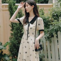 Dress Summer 2021 Apricot S M L XL 3XL 4XL longuette singleton  Short sleeve commute Doll Collar High waist Decor Socket A-line skirt routine 18-24 years old Type A Yamais / yamas Korean version printing More than 95% Chiffon other Other 100% Pure e-commerce (online only)