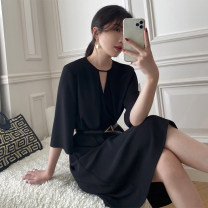 Dress Summer 2021 Black (5-sleeve) black (long sleeve) M L XL 2XL 3XL 4XL longuette singleton  Long sleeves commute V-neck High waist Solid color Socket A-line skirt routine 25-29 years old Type A Yamais / yamas Korean version Frenulum More than 95% other Other 100% Pure e-commerce (online only)