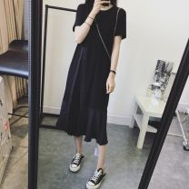 Dress Summer 2021 Black wave point M L XL 2XL 3XL 4XL longuette singleton  Short sleeve commute Crew neck Loose waist Solid color Socket Ruffle Skirt routine 18-24 years old Type A Yamais / yamas Splicing More than 95% other Other 100% Pure e-commerce (online only)