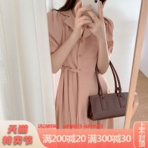 Dress Summer 2021 Pink apricot S M L XL longuette singleton  Short sleeve commute V-neck High waist Solid color Single breasted A-line skirt routine 25-29 years old Type A Yamais / yamas Korean version Button More than 95% Chiffon other Other 100% Pure e-commerce (online only)
