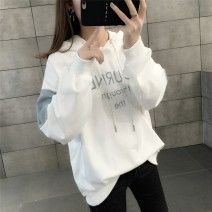 Sweater / sweater Winter 2020 Yellow white blue grey yellow Plush White Plush Blue Grey Plush Average size Long sleeves routine Socket singleton  Plush Hood easy commute routine letter 18-24 years old 96% and above Yamais / yamas Korean version other Printed stitching drawcord Other 100%