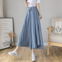 Casual pants Black white blue S M L XL Summer 2021 trousers Wide leg pants High waist commute routine 18-24 years old Yamais / yamas Korean version fold polyester fiber Other 100% Pure e-commerce (online only)