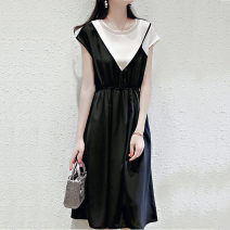 Dress Summer 2020 black M L XL 2XL 3XL Mid length dress Fake two pieces Short sleeve commute Crew neck High waist Solid color Socket A-line skirt Sleeve Others 30-34 years old Type A Yamais / yamas Simplicity Splicing More than 95% other other Other 100% Pure e-commerce (online only)