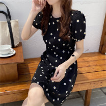 Dress Summer 2021 black S M L XL longuette singleton  Short sleeve commute Crew neck High waist Dot Socket A-line skirt routine 25-29 years old Type A Yamais / yamas Korean version printing More than 95% Chiffon other Other 100% Pure e-commerce (online only)