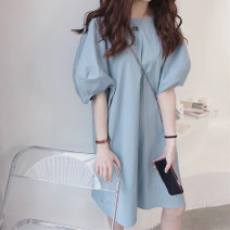 Dress Summer 2021 Blue dress pink dress S M L XL longuette singleton  Short sleeve commute Crew neck Loose waist Solid color Socket A-line skirt routine 18-24 years old Type A Yamais / yamas Korean version Splicing More than 95% other other Other 100% Pure e-commerce (online only)