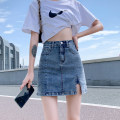 skirt Summer 2021 XS S M L XL 2XL Retro Blue (lined) light blue (unlined) black (lined) gray (lined) Short skirt commute High waist A-line skirt Solid color Type A 18-24 years old More than 95% Denim Yamais / yamas other pocket Korean version Other 100% Pure e-commerce (online only)