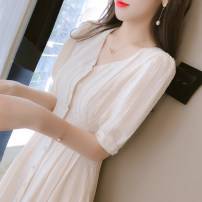 Dress Summer 2021 Apricot S M L XL longuette singleton  Short sleeve commute V-neck High waist Solid color Socket A-line skirt routine Others 25-29 years old Type A Yamais / yamas Korean version Button More than 95% Chiffon other Other 100% Pure e-commerce (online only)