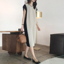 Dress Summer 2021 Black apricot M L XL 2XL 3XL longuette singleton  Short sleeve commute Crew neck Loose waist Solid color Socket A-line skirt routine 25-29 years old Type H Yamais / yamas Splicing More than 95% knitting other Other 100% Pure e-commerce (online only)