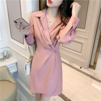Dress Summer 2021 Pink S M L Short skirt singleton  Long sleeves commute tailored collar High waist Solid color Socket A-line skirt routine 25-29 years old Type A Yamais / yamas Korean version Frenulum More than 95% other Other 100% Pure e-commerce (online only)