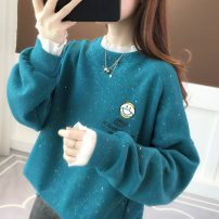 Sweater / sweater Spring 2021 Blue white pink Average size Long sleeves routine Socket singleton  routine Crew neck easy routine Cartoon animation 18-24 years old 96% and above Yamais / yamas other printing cotton Cotton liner Other 100% Pure e-commerce (online only)