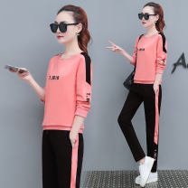 Casual suit Autumn of 2019 Red Black Pink 18-25 years old Xiuman 51% (inclusive) - 70% (inclusive) cotton Cotton 65% polyester 30% polyurethane elastic fiber (spandex) 5% Pure e-commerce (online only)