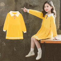 Dress Autumn 2020 yellow 110cm (pre-sale), 120cm (pre-sale), 130cm, 140cm, 150cm, 160cm Middle-skirt singleton  Long sleeves Sweet Under 17 princess