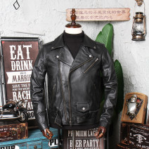 leather clothing Hua Lei founded the country Youth fashion Leather and sheepskin S M L XL 2XL 3XL 4XL 5XL have cash less than that is registered in the accounts Leather clothes Lapel Slim fit Diagonal zipper placket autumn motion youth top layer leather Punk H15616 Straight hem Zipper bag