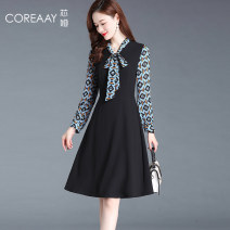 Dress Spring 2021 black S M L XL 2XL Mid length dress Fake two pieces Long sleeves commute V-neck middle-waisted Solid color Socket A-line skirt routine Others 35-39 years old Type A Coreaay Korean version Lace up stitching XY21AN21116 More than 95% knitting polyester fiber