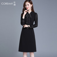 Dress Autumn 2020 Black short sleeve S M L XL XXL Mid length dress singleton  Long sleeves commute V-neck middle-waisted Solid color Socket A-line skirt routine Others 35-39 years old Type A Korean version Bowknot stitching More than 95% Chiffon polyester fiber Polyester 100%